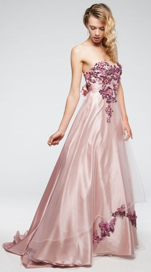 Rose Pink English Net Strapless Pattern Satin and Mesh Ball Gown Formal Dress Size 8 (M)