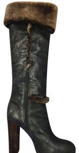 Tory Burch Fur Leather Black/Brown Boots