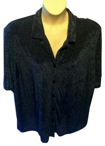 Anna Maxwell Plus-size Travel Slinky Stretchy Polka Dot Top Blue and Black