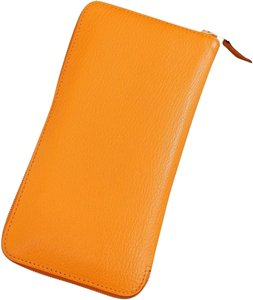 Hermès Hermes Orange Chevre Mysore GoatSkin Azap Long Wallet