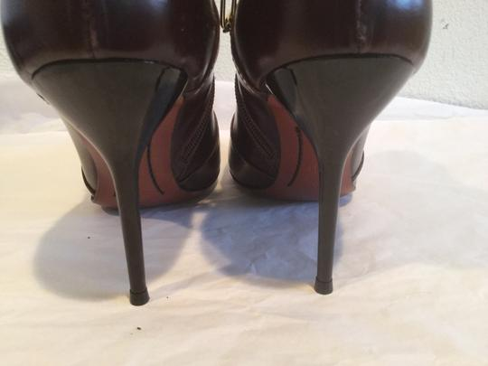 Jonathan Kelsey Multi Use Stiletto Heels Brown all leather gold chain E41 ankle Boots