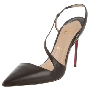 Christian Louboutin Pointed Toe Crisscross Strap Black Pumps
