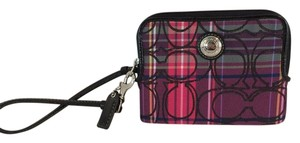 Coach TARTAN PLAID WRISTLET WALLET MEDIUM ZIP AROUND