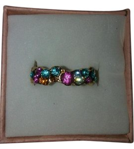 Size Five 18K Gold Plated Ring With Multi-Color CZ Stones