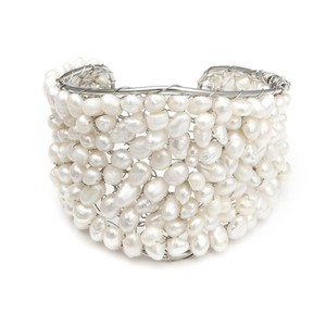 Mariell Ivory / Silver Exotic Freshwater Pearl Cuff 778b Bracelet