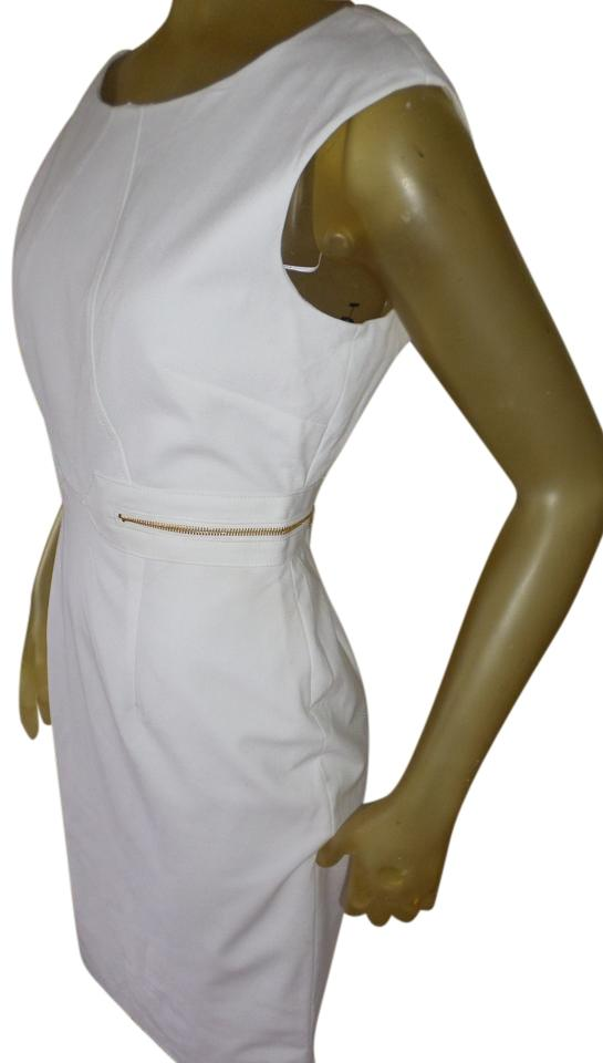 new york innovative design discount shop Calvin Klein White Exposed Gold Zip-side Sleeveless Sheath Knee Length  Work/Office Dress Size 8 (M) 69% off retail