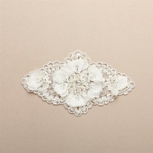 Mariell Ivory Lace Applique Embellsihment with Delicate Crepe Petals and Crystals 4407la-i Sash