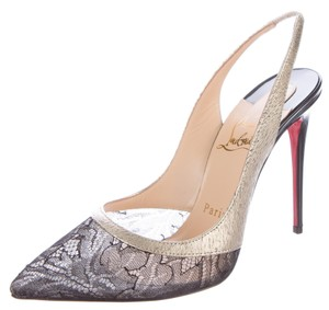 Christian Louboutin Gold Hardware Patent Leather Black, Gold, White Pumps