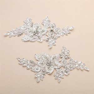 Mariell Breathtaking Crystal Bridal Lace Applique In White Floral Vine Motif 4401la-w