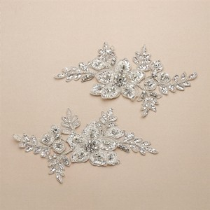 Mariell Breathtaking Crystal Bridal Lace Applique In Ivory Floral Vine Motif 4401la-i