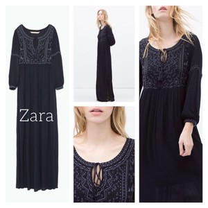 Navy multi Maxi Dress by Zara
