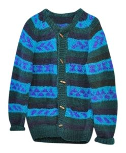 Vintage Sweater Blue Striped Cardigan