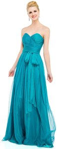 Dark Turquoise Strapless Sweetheart Neck Chiffon Dress
