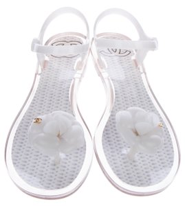 Chanel Metallic Interlocking Cc White, Silver, Gold Sandals