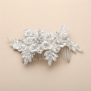 Mariell Sculptured European White Lace Bridal Comb With Crystals And Sequins 4484hc-w