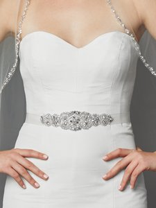 Mariell Luxurious Crystal And Pearl Applique Bridal Belts Or Sash 4461sh-w-s