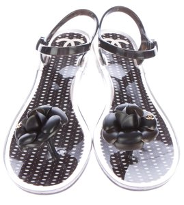Chanel Metallic Interlocking Cc Black, Silver, Gold Sandals