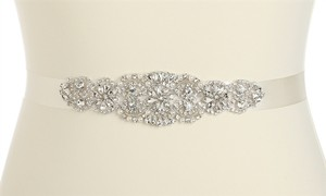 Mariell Luxurious Crystal And Pearl Applique Bridal Sash Or Belt 4461sh-i-s