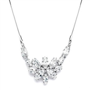 Mariell Cz Cluster Wedding Necklace With Marquis Leaves 4371n-s