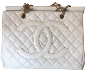 Chanel Caviar Gst Leather Gold Limited Edition Tote in White
