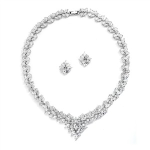 Mariell Regal Marquise Cz Statement Necklace And Earrings Set 4376s-s