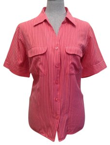 dressbarn Button Down Shirt Salmon / Black