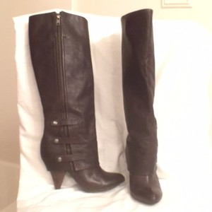Miss Sixty Leather Knee High Brown Dark Brown Boots
