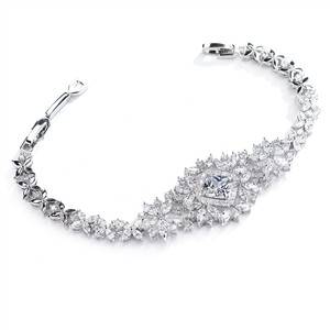 Mariell Dramatic Cz Bridal Bracelet With Cushion Cut Center 4392b-s