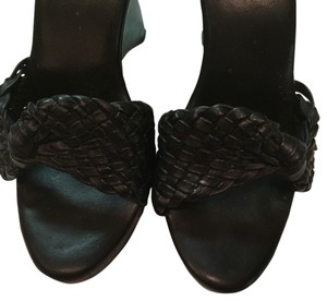 Leather Weaved Black Mules