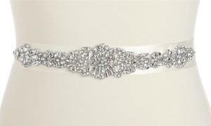 Mariell Bejeweled Bridal Sash With Breathtaking Genuine Crystal Applique 4459sh-i-s