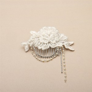 Mariell English Rose Lace Comb With Pearl And Crystal Draped Swags 4452hc-lti