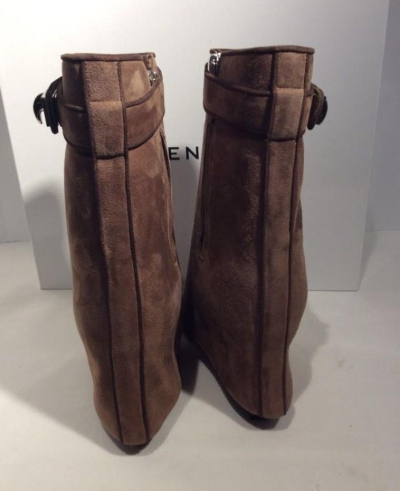 11d2a3e77ee Givenchy Brown Shark Lock Suede Wedge Boots/Booties Size US 6 44% off retail