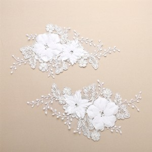 Mariell Luxurious Embroidered White Bridal Lace Applique With Dimensional Flowers 4403la-w
