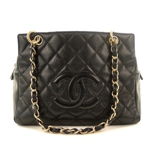 Chanel Caviar Leather Gold Hardware Tote in Black