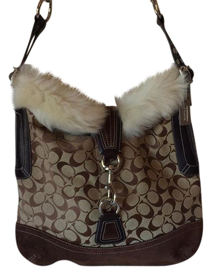 019dc81dbe30 Coach Trimmed Brown Jacquard Suede Rabbit Fur Canvas Hobo Bag - Tradesy