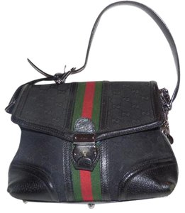 Gucci Equestrian Accents Print Wide Stripe Rare Version Has Key& Charm Fobs Satchel in black large G logo canvas/leather with red and green