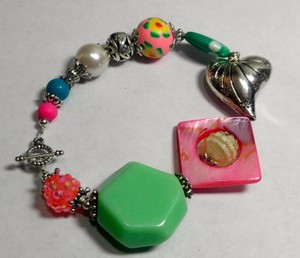 Other New Glass Handmade Bracelet Chunky Green Pink J2931