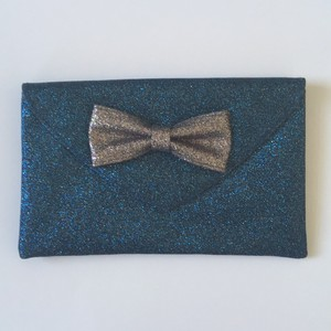 Anthropologie Anthro Glitter Bow Turquoise Clutch