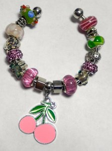 Other New European Cherries Charm Bracelet Bangle Pink Green J2932