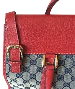 Gucci Vintage Monogram Satchel in Navy and Red