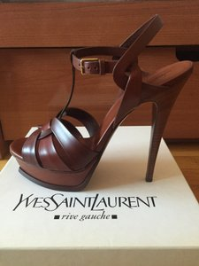 Saint Laurent Brown Leather Platform Sandals