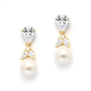 Mariell Gold Cz Bridal Earrings With Pears And Pearl Drops 4490e-i-g