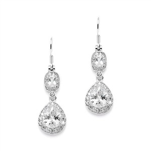 Mariell Cz Earrings With Graceful Pears And Delicate Emerald Cut Dangles 4486e-s
