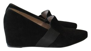 Aquatalia by Marvin K. Italian Pointed Toe Loafers Black Wedges