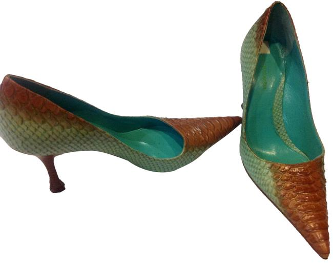Item - Aqua/Tan Snakeskin Mules/Slides Size US 8.5 Regular (M, B)