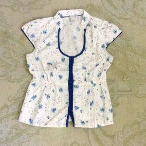 Anthropologie Top White/blue