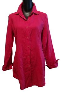 Eileen Fisher Long Seeve Linen Top Red