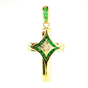 18K Yellow Gold 1.50Ct Sapphire Cross Pendant