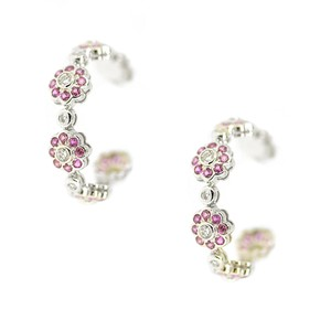 Other 14K White Gold 1.0 Ct Diamond 2.50CT Pink Sapphire Hoop Earrings