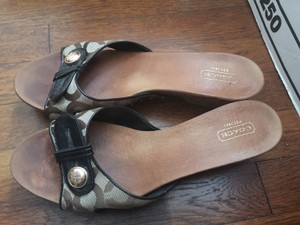 Coach Platform Gold Bronze and light wood tone Mules